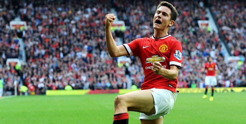 epa04400562 Manchester United's Ander Herrera celebrates scoring the second goal during the English Premier League soccer match between Manchester United and Queens Park Rangers at Old Trafford in Manchester, Britain, 14 September 2014.  EPA/PETER POWELL DataCo terms and conditions apply  http://www.epa.eu/files/Terms%20and%20Conditions/DataCo_Terms_and_Conditions.pdf